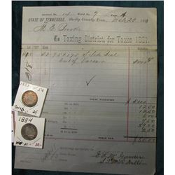 1881 Taxing District State of Tennessee, Shelby County, Tenn. Invoice; 1883 NC Toned & 1884 Liberty