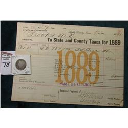1889 Taxing District State of Tennessee, Shelby County, Tenn. Invoice; & 1889 Liberty Nickel, VG.