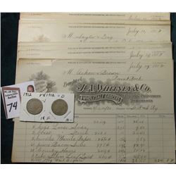 "(12) 1912 ""For Use in 20th Century Bookkeeping and Office Practice"" Invoices & 1912 P & D Liberty Ni"
