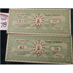 1938 $5 & $10 Trade Currency, Mt. Carmel Center, Waco, Texas. (Home of the Branch Davidians before t