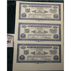 "1933 Depression Scrip Uncut Sheet of Fifty Cent ""The City of Pleasantville, New Jersey"", CU."