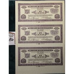 "1933 Depression Scrip Uncut Sheet of Twenty-Five Cent ""The City of Pleasantville, New Jersey"", CU."
