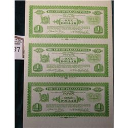 "1933 Depression Scrip Uncut Sheet of One Dollar ""The City of Pleasantville, New Jersey"", CU."