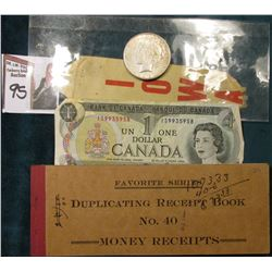 "A partially used book of 1919 era ""Favorite Series Duplicating Receipt Book No. 40 1/2 Money Receipt"