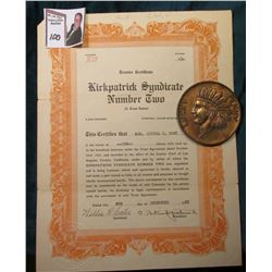 "1922 ""Trustee Certificate Kirkpatrick Syndicate Number Two (A Trust Estate) One Share"" Los Angeles,"