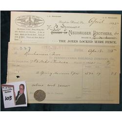 "(2) Different ""Bird-In-Hand, Pa."" Receipts, one to ""Pennsylvania Railroad, Co."" & other ""neuhauser B"