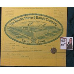 "1911 Invoice with fancy lithograph ""The Buck's Stove & Range Company, Saint Louis""; & 1938 D Jeffers"