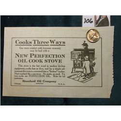 "1918 ""Standard Oil Company"" Gas Receipt depicting the ""New Perfection Oil Cook Stove""; & 1938 D Jeff"