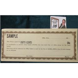 """SAMPLE Albia, Iowa _ _ _ _ _193_ _ _ This Scrip is good for FIFTY CENTS"" Depression Scrip, Unissued"