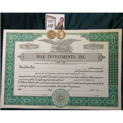 "Unissued Stock Certificate ""MAK Investments Inc."" with nice Eagle vignette; & 1938 P & D Toned AU to"