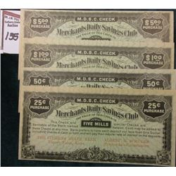 "Depression Scrip: .25c, .50c, $1.00, & $5,00 Merchants Daily Savings Club ""The Citizens State Bank V"