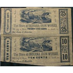 "Ten Cents & Twenty-Five Cents Jan. 1st, 1856 ""The Store at Indiana Iron Works"" Badly cut Two-note Sh"