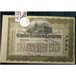 "1900 Cancelled Stock Certificate ""United States of America District of Columbia Capital Traction Com"