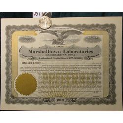 "1943 P Walking Liberty Half Dollar, AU & 19__ era Unissued Stock Certificate ""Marshalltown Laborator"