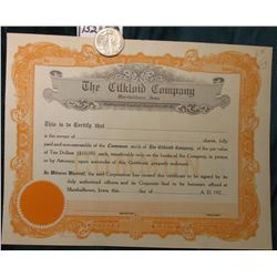 "1943 S Walking Liberty Half Dollar, AU & 19__ era Unissued Stock Certificate ""Cilkloid Company"", Mar"