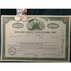 "1944 P & D U.S. Walking Liberty Half Dollars, All EF; & 1968 Stock Certificate ""Beaver Creek Industr"