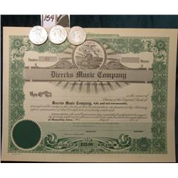 "1945P, D, & S U.S. Walking Liberty Half Dollars, VF-EF; & 19__ era Unissued Stock Certificate ""Duerc"