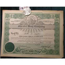 "1922 P U.S. Peace Silver Dollar, Brilliant Uncirculated; & 1939 Stock Certificate ""Shrader Drug Comp"