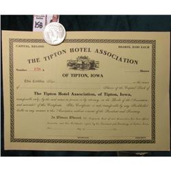 "1922 P U.S. Peace Silver Dollar, Almost Uncirculated; & an Unissued Stock Certificate ""The Tipton Ho"