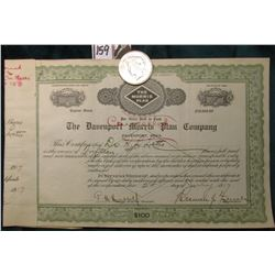 "1922 P U.S. Peace Silver Dollar, Almost Uncirculated; & an cancelled Stock Certificate ""The Davenpor"