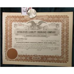 "1922 P U.S. Peace Silver Dollar, Brilliant Uncirculated; & 19__ era Unissued Stock Certificate ""Inte"