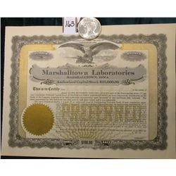 "1922 P U.S. Peace Silver Dollar, Brilliant Uncirculated;  & 19__ era Unissued Stock Certificate ""Mar"