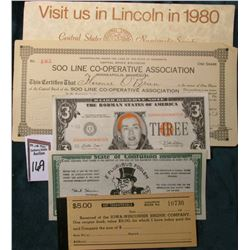 "C.S.N.S. 1980 Show Advertisement; 1913 ""Soo Line Co-operative Association"" Stock Certificate; ""Hilla"