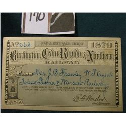 "1879 Annual Exchange Ticket ""Burlington, Cedar Rapids, & Northern Railway"" ""Iowa and Minnesota"" Scri"