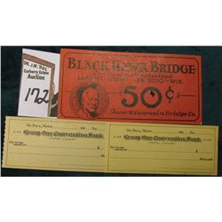 "(2) Miniature Blank Checks ""St. Paul, Minn.____193_ ""Group One Convention Bank""; & a Rare ""Black Haw"
