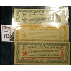 "1930 era ""Poll Parrot Shoe Money…Galesburg, Ill"" $1, $2, & $5 Depression Scrip."