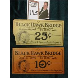 "Rare ""Black Hawk Bridge Crossing Mississippi Lansing..Iowa  De Sota..Wis. 10c & 25c Iowa-Wisconsin B"