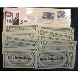 "(2) Jan 3, 1959 Juneau, Alaska Postmarked First Day of Issue Covers; (37) 1950 era ""One Bi-Lo Bonus"
