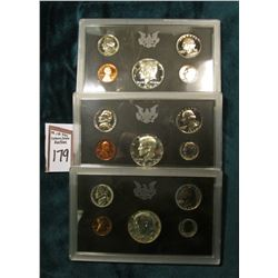 (3) 1970 S Silver U.S. Proof Sets in original hard plastic cases, no outer boxes.