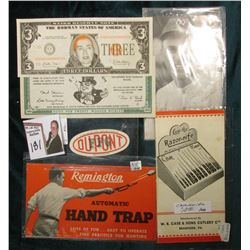 """Bill Zuber's Dugout Restaurant Homestead, Iowa"" Card; ""Hillary Rodman"" $3 Weird Reserve Note; ""IOU"
