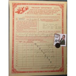 "1928 Order Form ""Treasury Department United States Internal Revenue Order Form for Opium or Coca Lea"