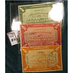 "(3) Different Perf Cancelled large ""Series of 1934 United States Internal Revenue Stamp for (1/4, 1/"