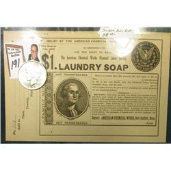 """$1. Laundry Soap…American Chemical Works, New Bedford, Mass."" No. 102. Depicts President Washington"