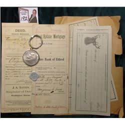 "1899-1900 ""General Warranty Deed"" & ""Real Estate Mortgage"" Washington, Kansas & ""State Bank of Eldre"