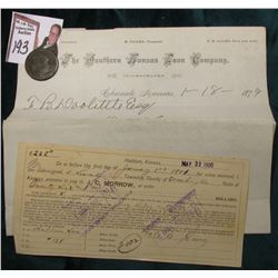 1798 U.S. Large Cent, Fair; Haddam, Kansas May 23 1900 Promissory Note; Letter with Letter head date