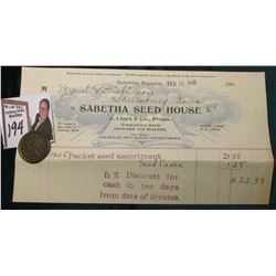 "1846 U.S. Large Cent & Feb 18 1905 Letterhead ""Sabetha Seed House…Sabetha, Kansas"""