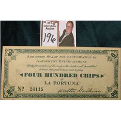 "1935 ""America's Exposition San Diego"", ""Admission Stamp for Participating in…Four Hundred Chips at L"