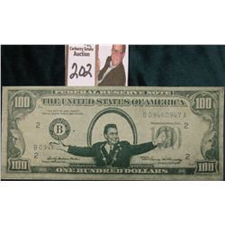 "Propaganda $100 Federal Reserve facsimile note. Reverse ""To The Twentieth Century Land of Slavery Ra"