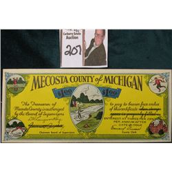 "1933 Depression Scrip with 3% Interest ""Mecosta County of Michigan $1.00 The Treasurer of Mecosta Co"