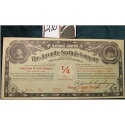 """Iowa Loan & Trust Company/Des Moines, Iowa Savings Coupon The Juvenile Savings Company Inc…1/4 Cent"