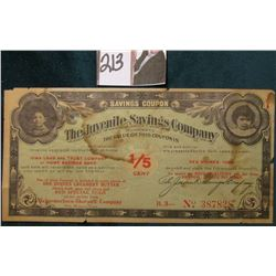 "1907 era ""Iowa Loan & Trust Company or Home Savings Bank Savings Coupon The Juvenile Savings Company"