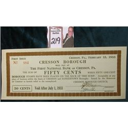 """Cresson, Pa. February 15, 1933/Cresson Borough Will Pay at The First National Bank of Cresson, Pa."