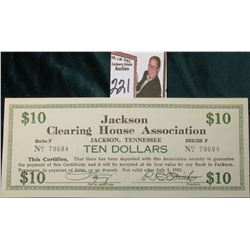 "Depression Scrip TN265-10 March 10, 1933 ""Jackson Clearing House Association Jackson, Tennessee Ten"