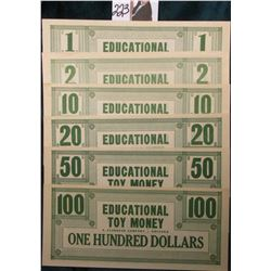 Educational Toy Money. A. Flanagan Company - Chicago. $1., $2., $5., $10., $20., $50. & $100.  Unuse