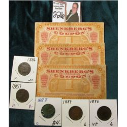 Circa 1907, Shenkberg's(3) 1c Co-Operative Coupons, Sioux City, Iowa; & 1886, 87, 88, 89 & 90 Indian