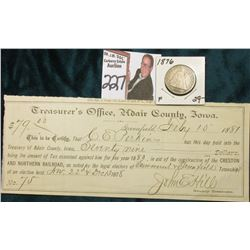 Promissory Note, Treasurer's Office, Adair County, Iowa, Aid in the Construction of the Creston and